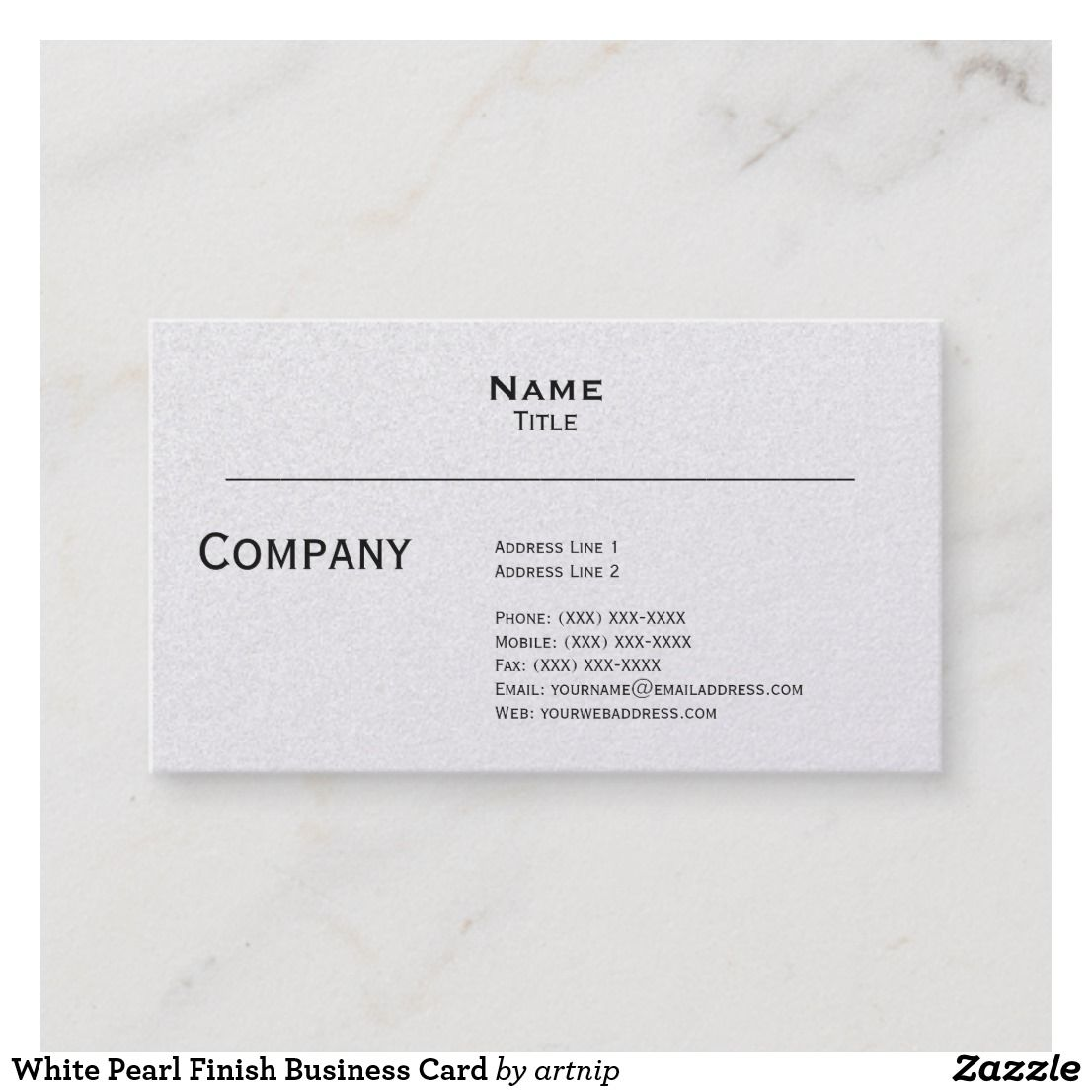 White Pearl Finish Business Card