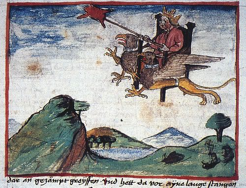 Alexander the Great in his throne lifted by only one griffin, and the meat  on his lance is definitely the small animal… | Alexander the great, Art,  Architecture art