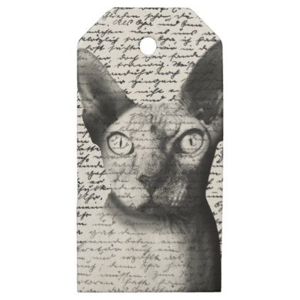 #white - #Sphynx cat wooden gift tags