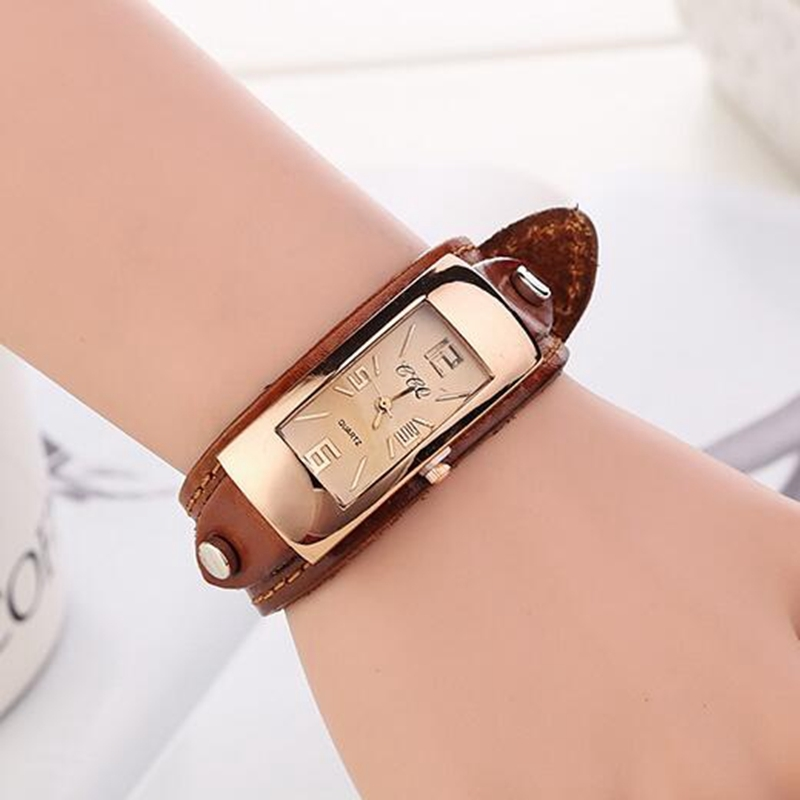 7.46$  Watch here - http://ali8s1.shopchina.info/go.php?t=32596778923 - Fashion Vintage Bracelet Watches Women Quartz Watch Leather Casual Dress Wristwatches For Ladies Watch Analog Relojes Mujer 2016  #bestbuy