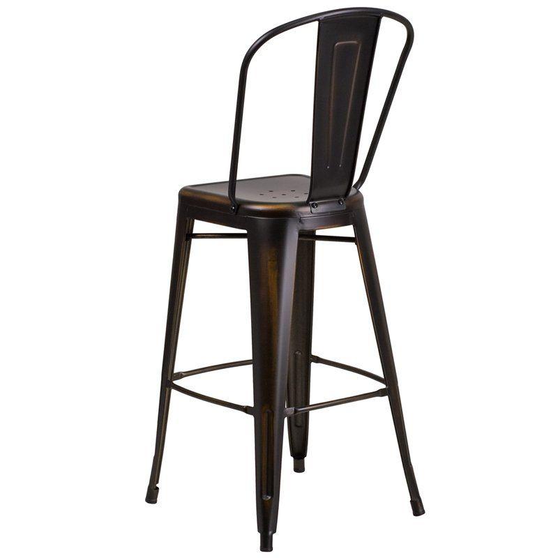 Astounding High Back Distressed Copper Metal Indoor Outdoor Barstool Cjindustries Chair Design For Home Cjindustriesco