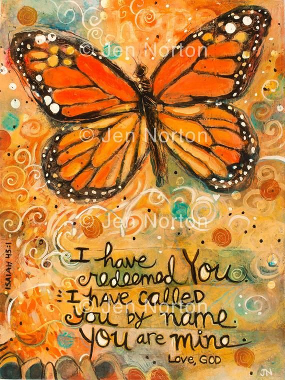 Monarch Butterfly Isaiah 43:1 Bible Quote on Redemption Colorful Wall Art