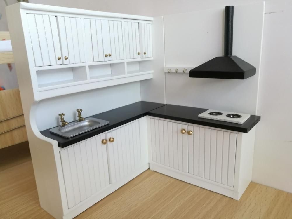 1 12 New Design Cute Dollhouse Miniature Integral Kitchen