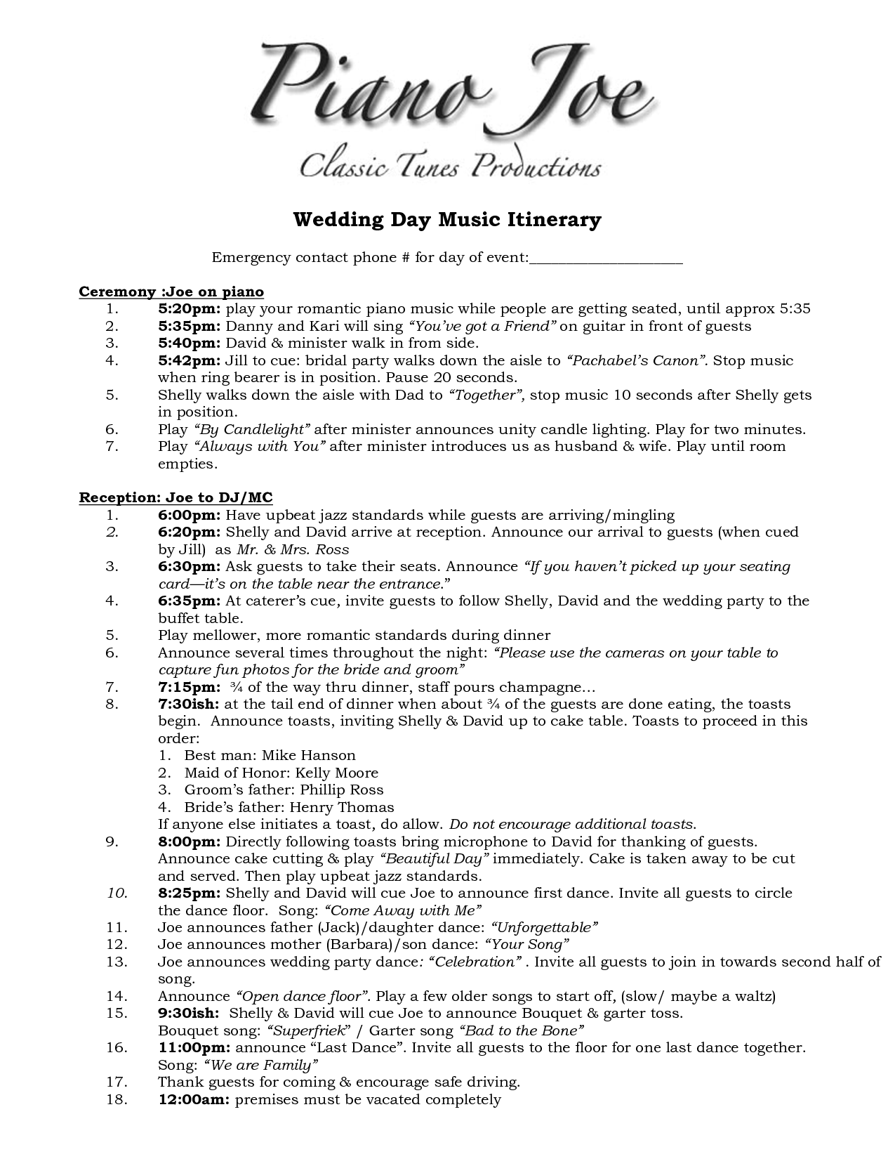 Wedding Itinerary Templates Free 1275px