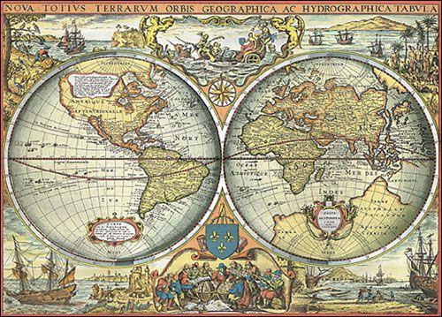 Antique world map vintage art prints posters canvas