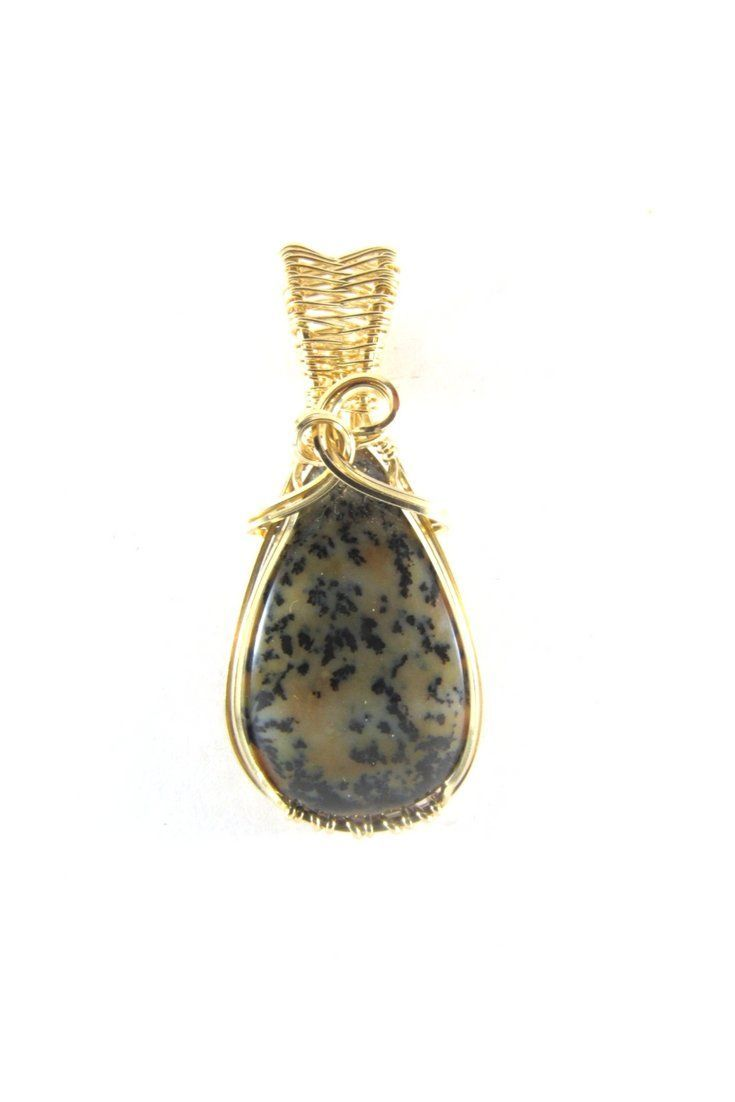 Dendrite Opal Teardrop 14k Gold Pendant Wire Wrap Jewelry | Wire ...