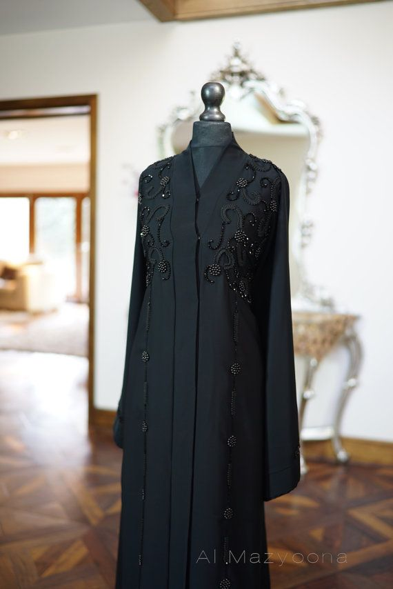 Al Mazyoona Black Embroidered Party Wedding Bisht By