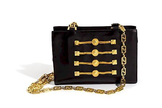 457e7fd3e3 A Gianni Versace Black Leather Chain Shoulder Bag