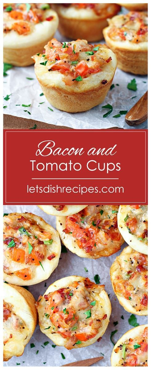Bacon and Tomato Cups Bacon and Tomato Cups Recipe -- Miniature crusts are filled with a mixture of