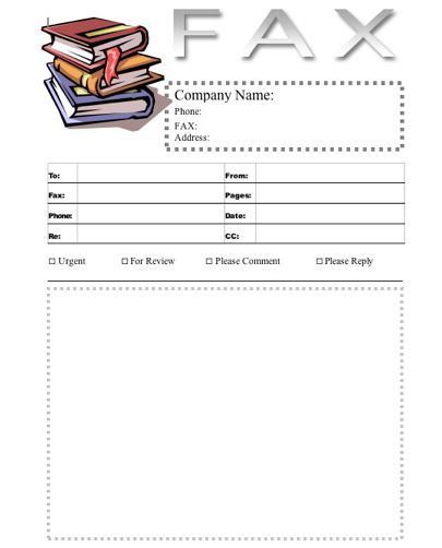 A stack of books, in color, is displayed at the top of this - fax cover templates
