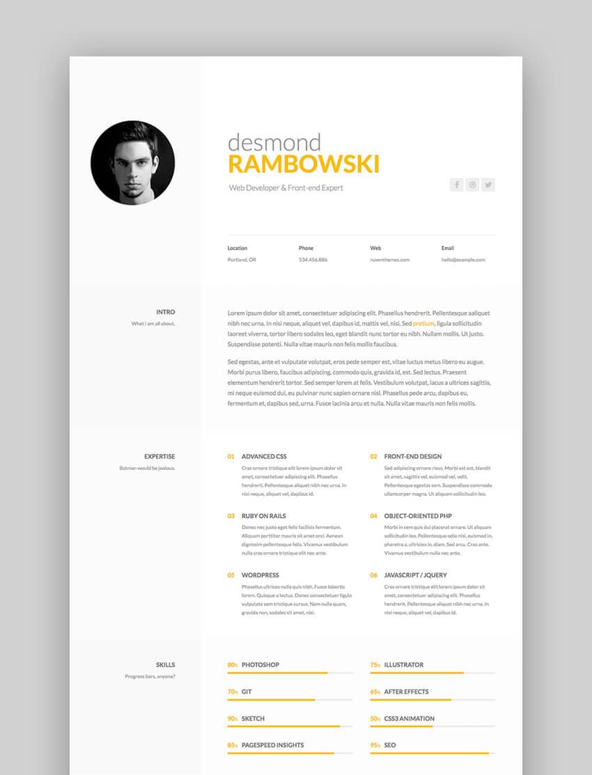 Desmond Resume Cv Html Template Resume Design Template Resume Cv Resume Template