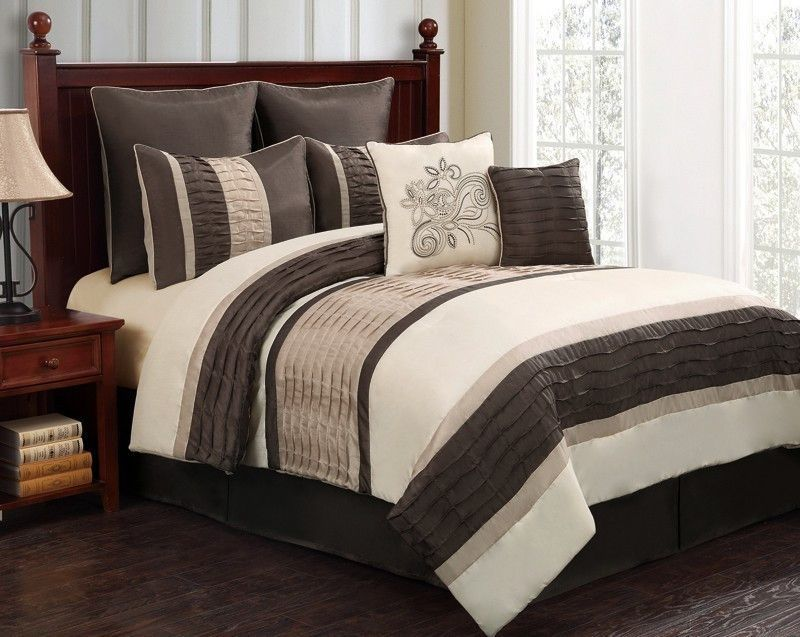 12pc WIND. Chocolate/Ivory/Beige Luxury Size: King Sheet Set Color: Lavender