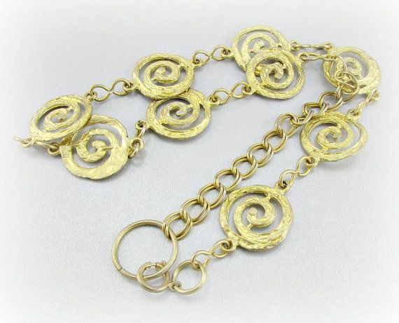 Vintage Gold Bib Statement Necklace, Gold Spiral Necklace, Chunky Gold Chain Necklace, 1980s Retro Modern Jewelry, Statement Runway Jewelry by RedGarnetVintage, $50.00