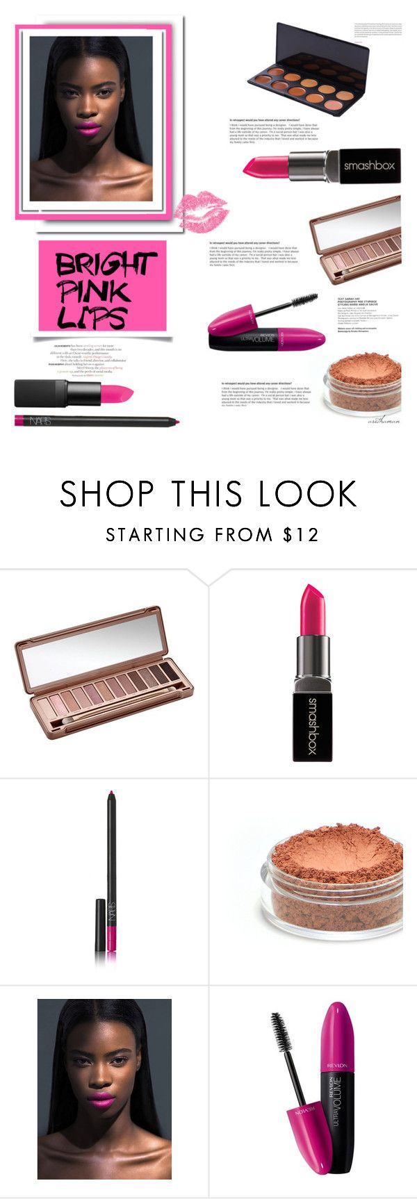 """""""Bright Pink Lips"""" by arethaman ❤ liked on Polyvore featuring beauty, Urban Decay, Smashbox, NARS Cosmetics, Oris, Revlon, pinklips, makeuplook, brightlips and spring2016"""