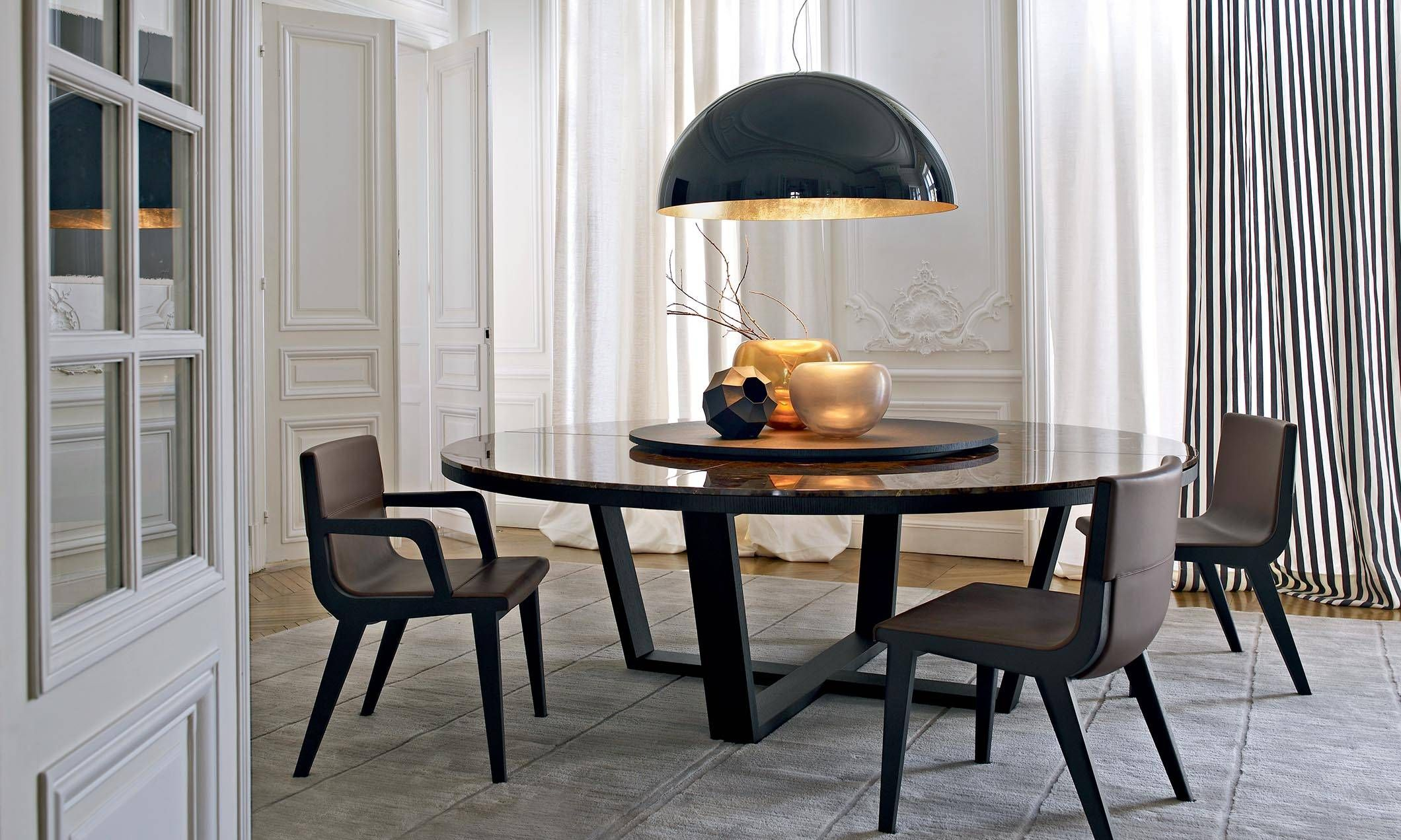 Image Slider Marble Top Dining Table Dining Table Black Round