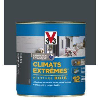 Peinture Bois Extérieur Climats Extrêmes V33, Gris Anthracite, 0.5 L