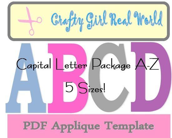 Capital letter applique templates 5 sizes appliqu inspiration capital letter applique templates 5 sizes spiritdancerdesigns Gallery