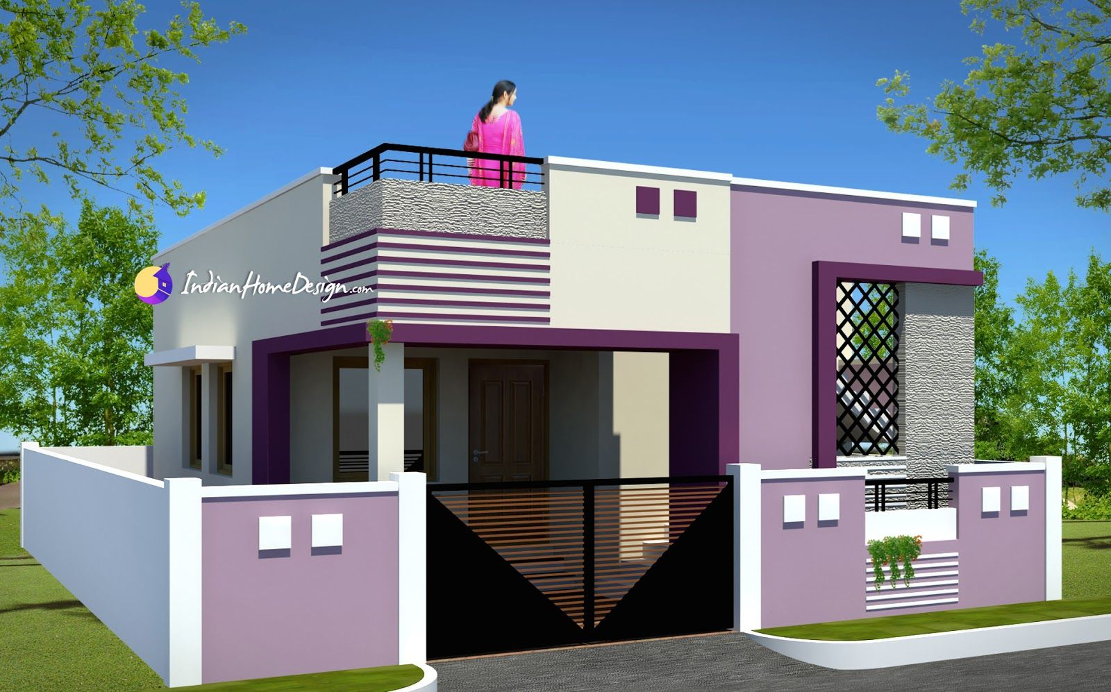 Contemporary low cost sqft bhk tamil nadu small home for Tamilnadu house designs photos