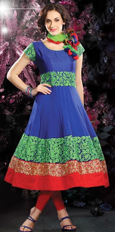 $141.06 Blue Embroidered Chiffon Anarkali Salwar Suit 26406