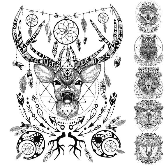 Boho Spirit Animals With Sacred Geometry Von WildandFreeSpirits