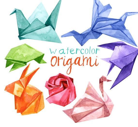 Watercolor Origami Animals Japanese Clipart Clip Art