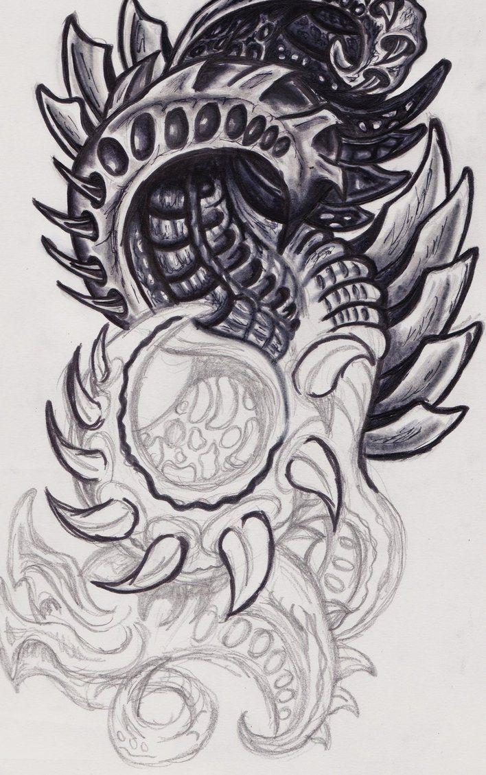 Biomechanical tattoos designs - Black And White Grey Color Ink Biomechanical Tattoo Design For Boys