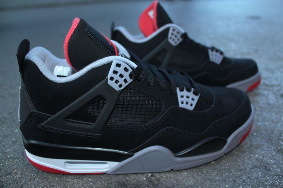 Air Jordan 4 Retro Black Cement Grey Fire Red New Images Air Jordans Air Jordan 4 Bred Jordan 4 Black