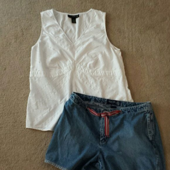 Plus size denim shorts size and white top Venezia jean shorts size 16 and Venezia white shirt size 14/16. Shorts have 2 side pockets and 2 back pockets and 100% cotton. Top is 96% cotton and 4% spandex with side zipper.  Both slightly worn; like new. Smoke-free environment. Venezia Other