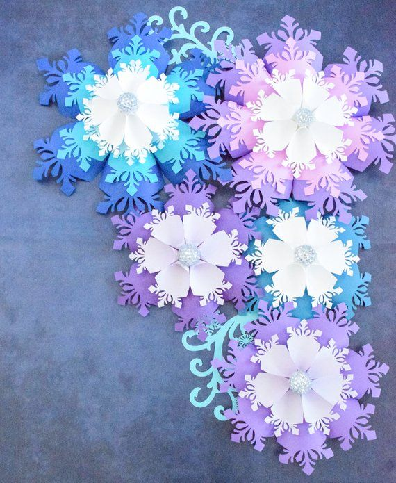 Large Paper Snowflakes Template, DIY Giant Paper Flowers, Christmas Decor Snowflake SVG, Frozen Party Decor #paperflowersdiy