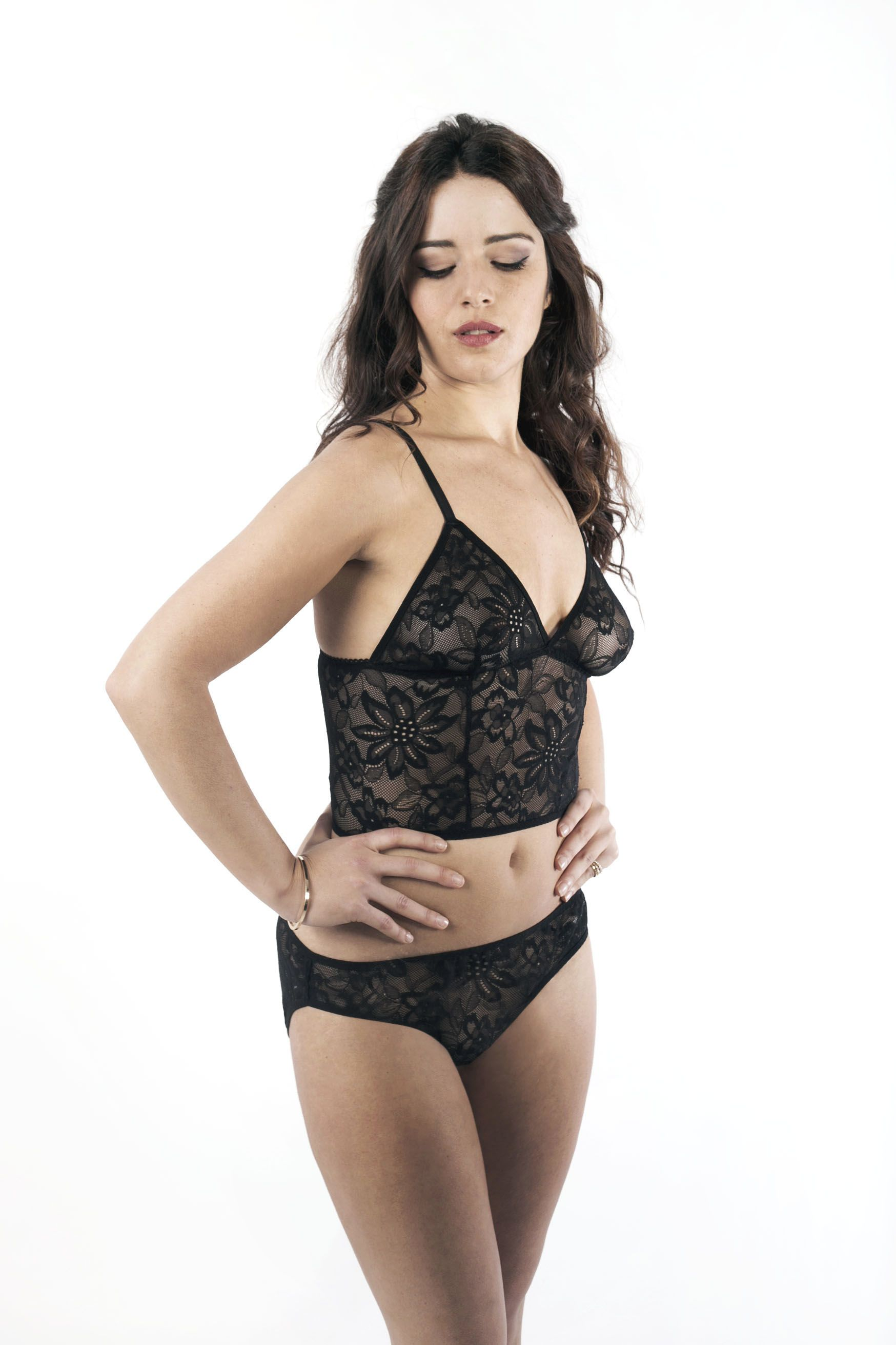 9692e6aedf8c8 Black lace long line bralette and knickers   panties lingerie set by  handmade indie lingerie brand Nahina on Etsy