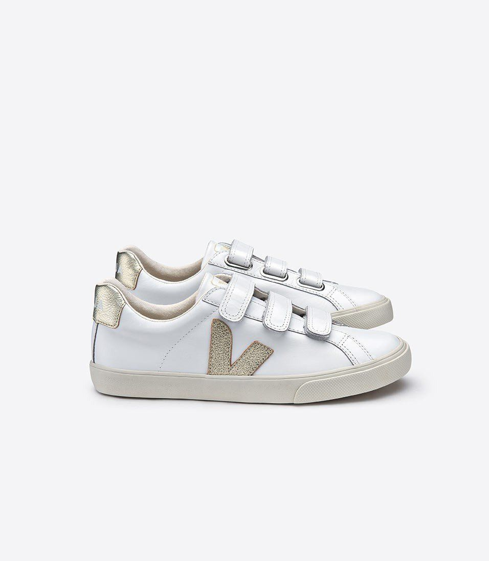 3 Lock Logo Leather Sneakers in Extra WhiteGold