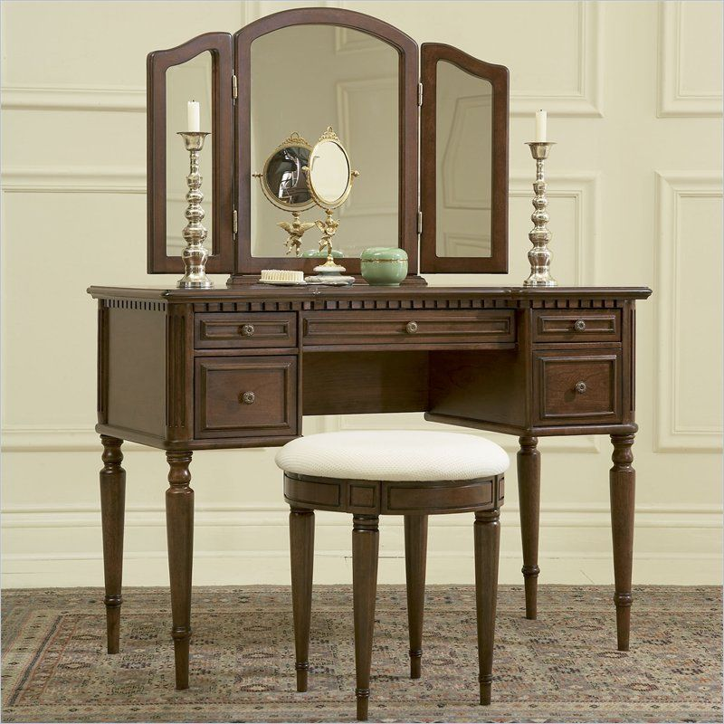 Warm Cherry Wood Makeup Vanity Table With Mirror And Bench By