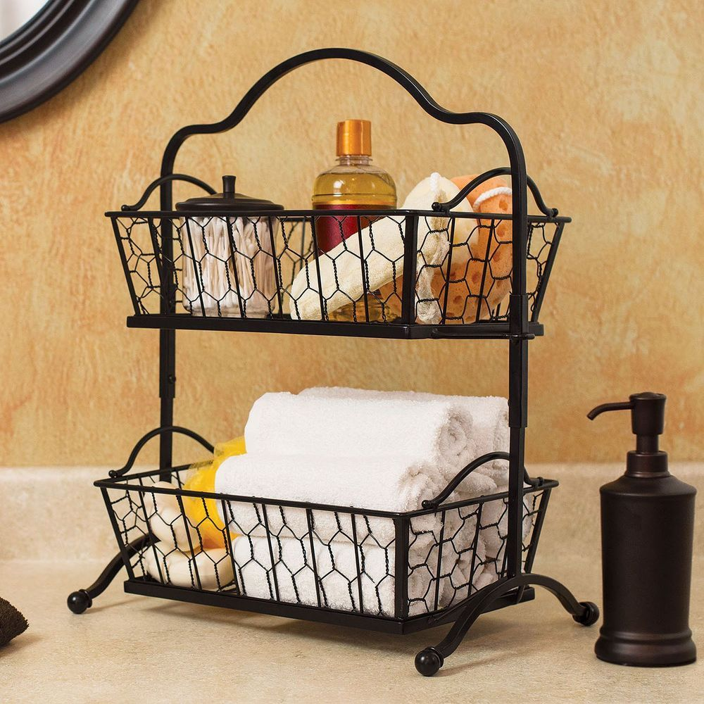 Two Tier Chicken Wire Basket Stand Bathroom Kitchen Dorm Organizer Makersmark Chicken Wire Basket Bathroom Baskets Wire Baskets