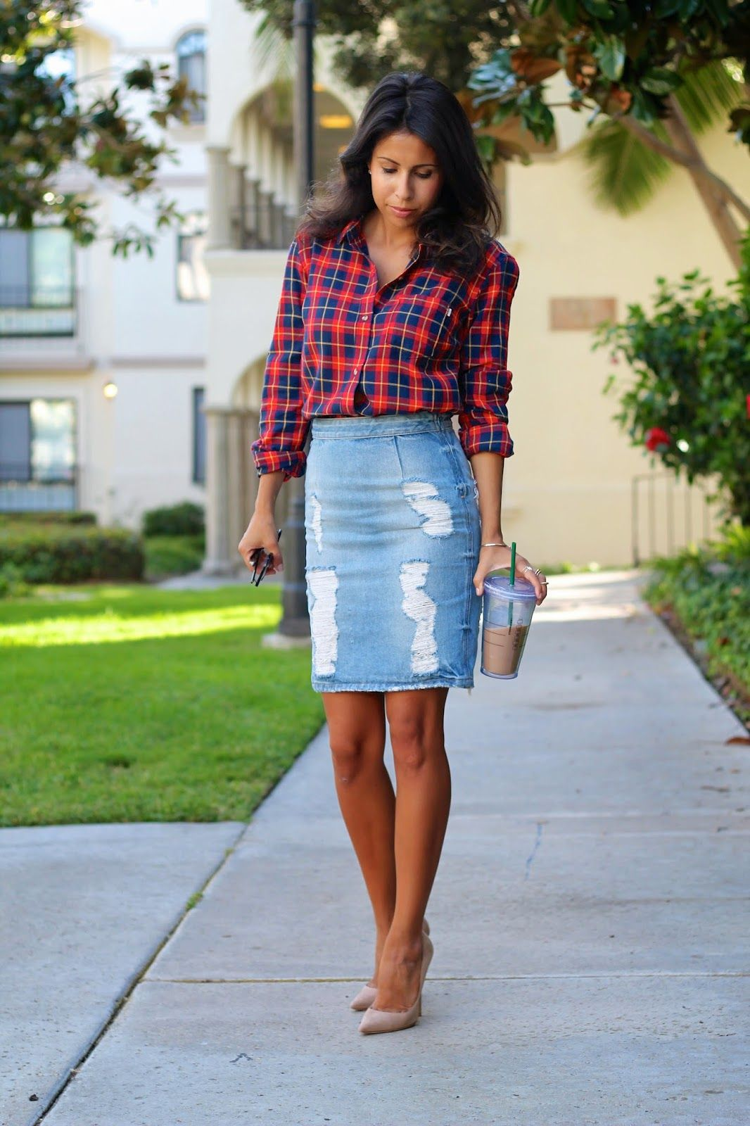 how to style flannel shirt, jimmy choo shoes, denim skirt