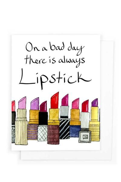Lipstick on a bad day get well greeting card goodey studio paper explore paper goods greeting cards and more m4hsunfo