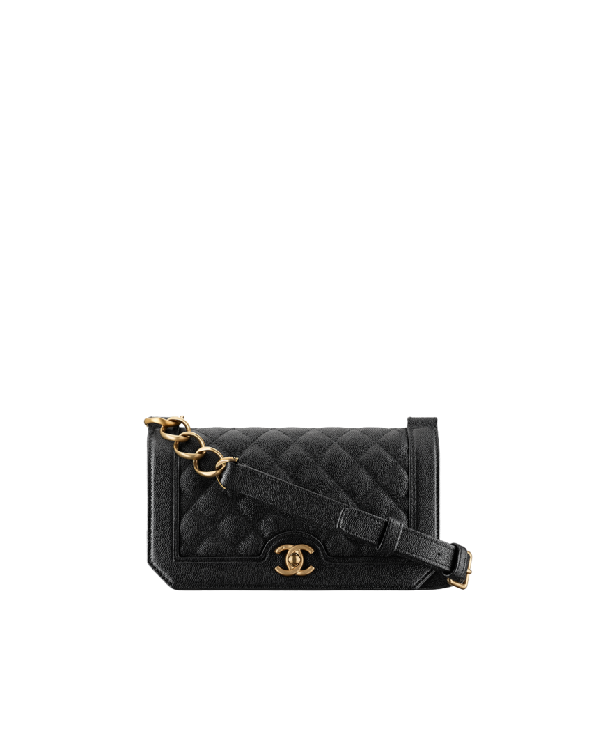 e1b2d7e27f2a $2800 Flap bag, grained calfskin & gold-tone metal-black - CHANEL ...