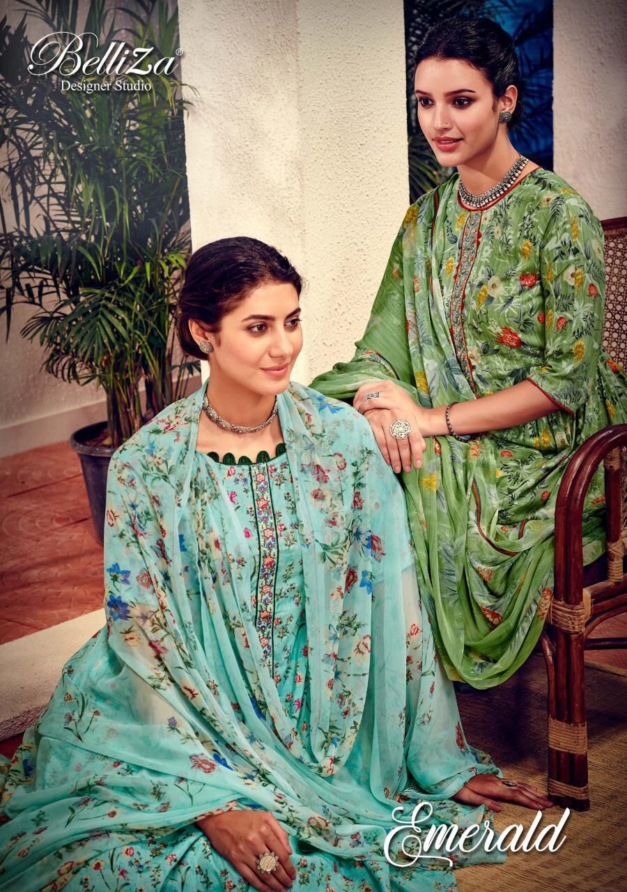 Belliza Designer Studio Emerald Floral Digital Printed Pure Cotton With Embroidery Work Dress Material Dress Materials Pure Products Exclusive Dress