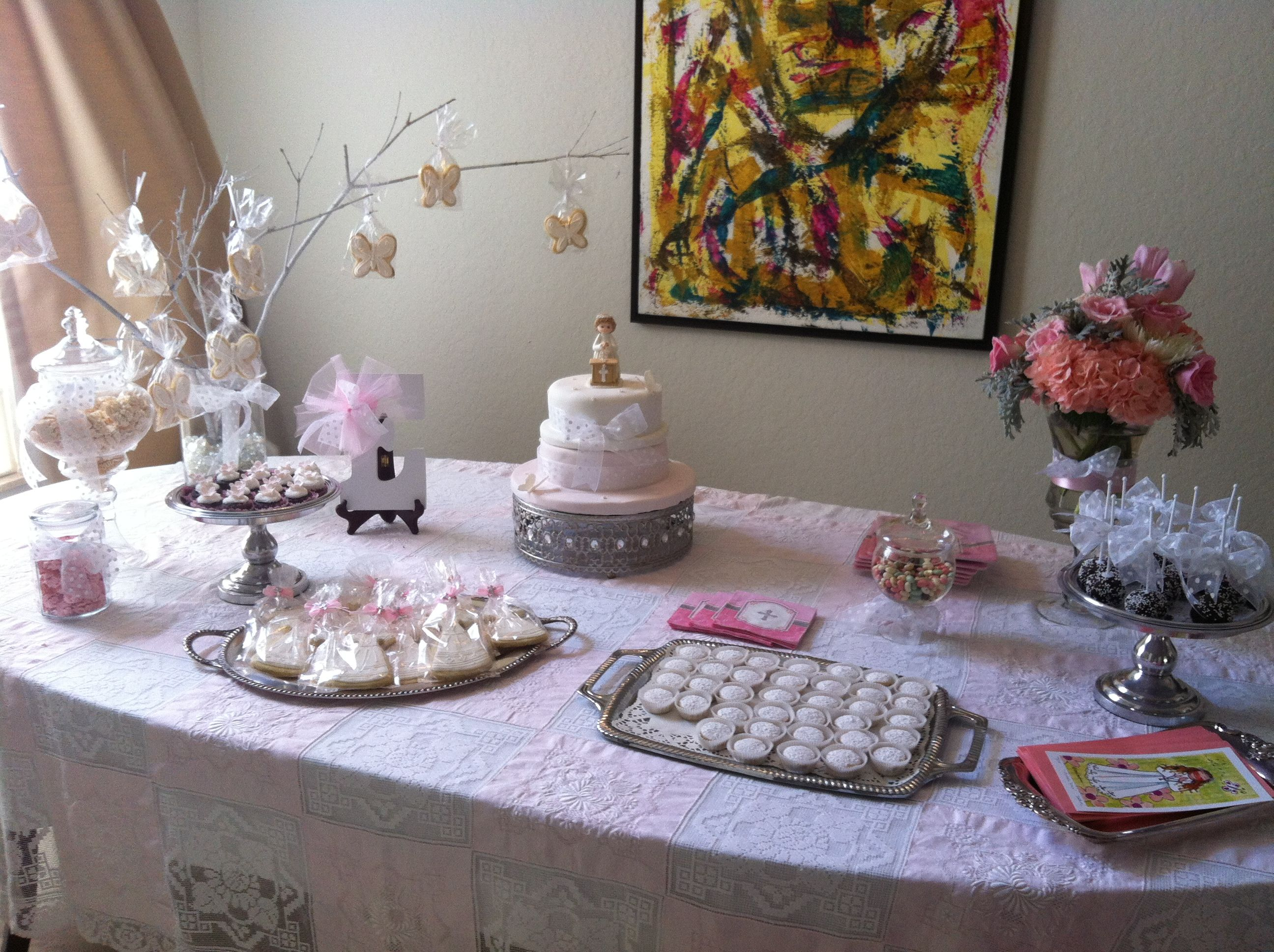 Sweet First Communion Dessert Table First Communion Communion Party Communion