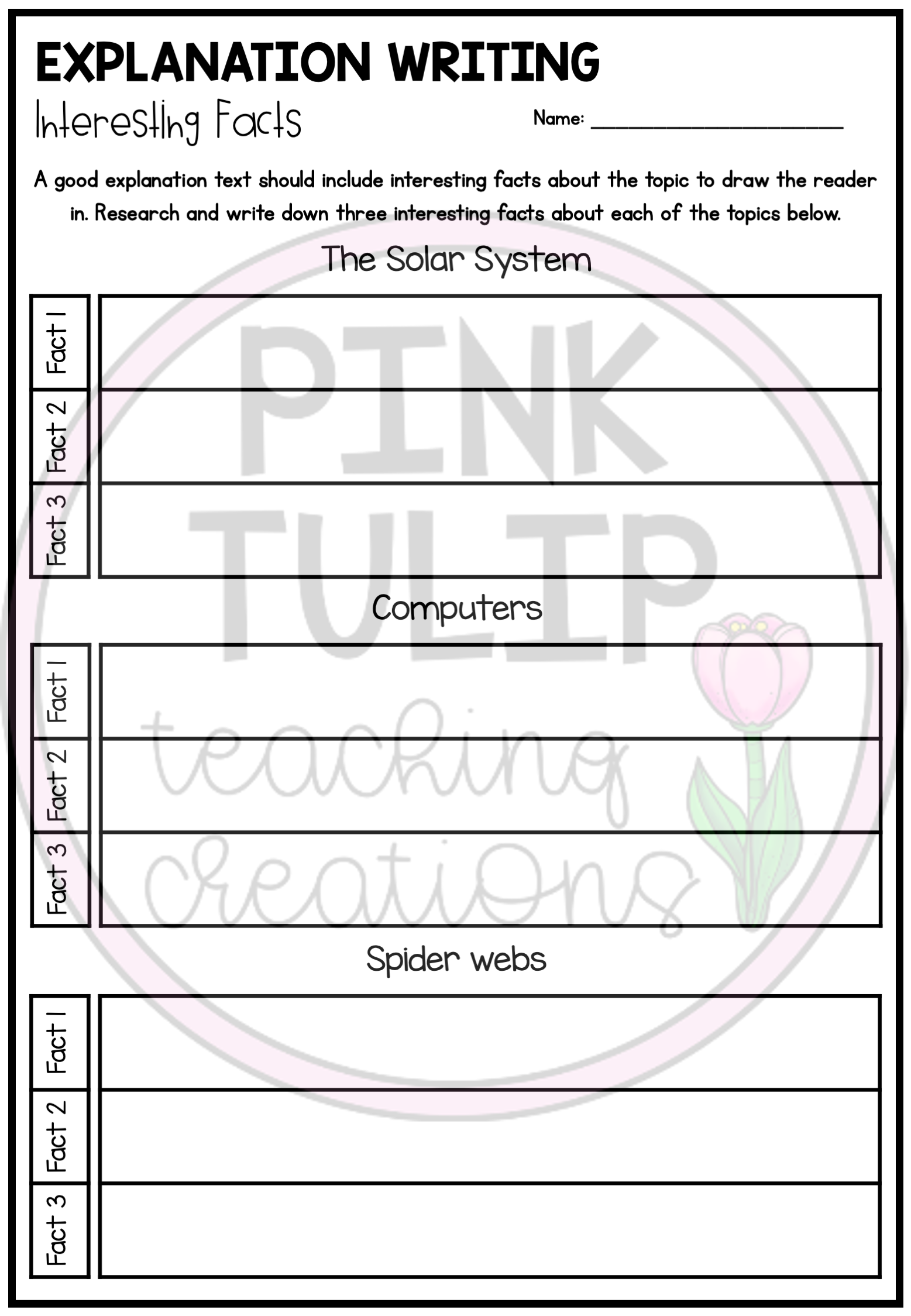 Explanation Text Writing Worksheet Pack