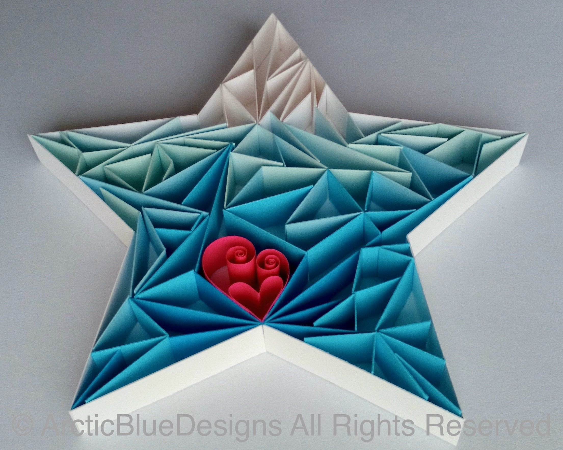 Photo of Quilled Star Ice Crystal Heart Decoration Ornament Paper Handmade