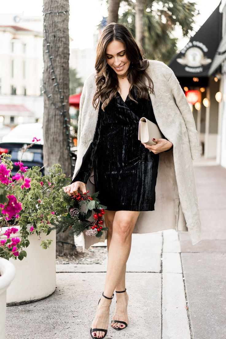 Get holiday party ready with H&M! This HM black velvet dress is stunning with their faux fur coat and worn by Amanda of A Glam Lifestyle blog. #christmasdress #holidaydress #dresses