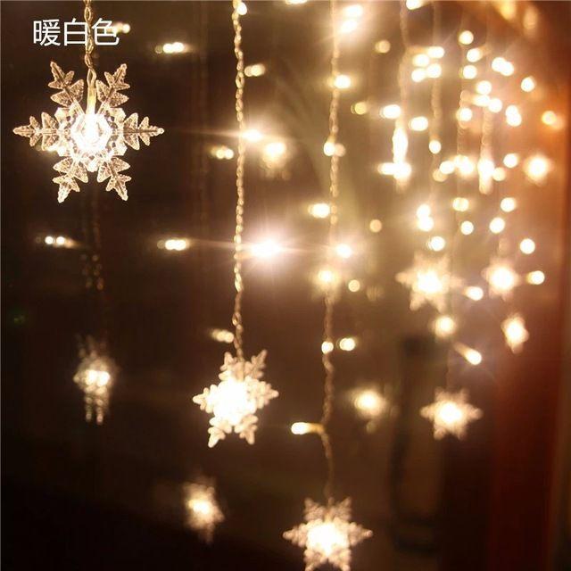 Multi 35M 100SMD Snowflake LED String Curtain Lights Holiday Xmas
