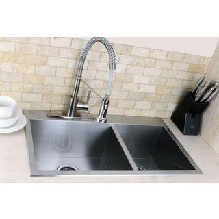 Topmount 31.5-inch Double Bowl Stainless Steel Kitchen Sink ...