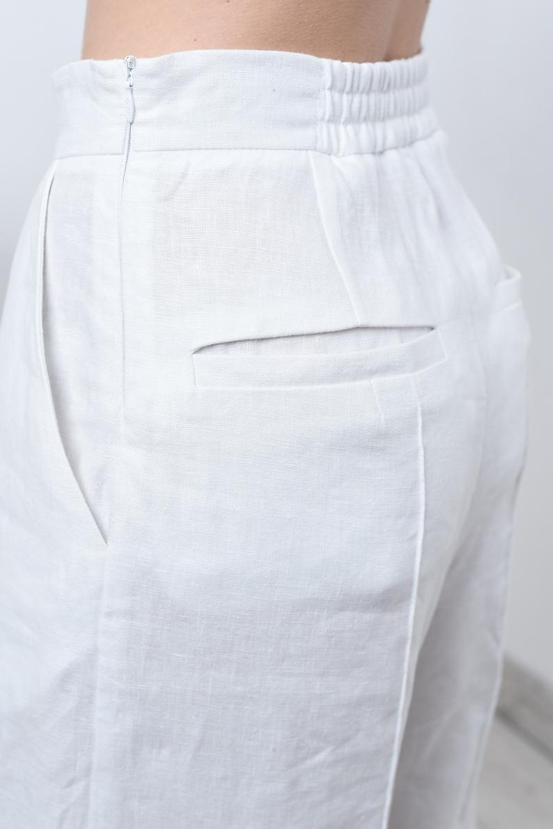 White Linen Pants For Women Linen Culottes Or Full Length Pants Wide Pants For Women Wedding Pants Culottes Or Full Length Linen Pants En 2021 Pantalones De Moda Mujer