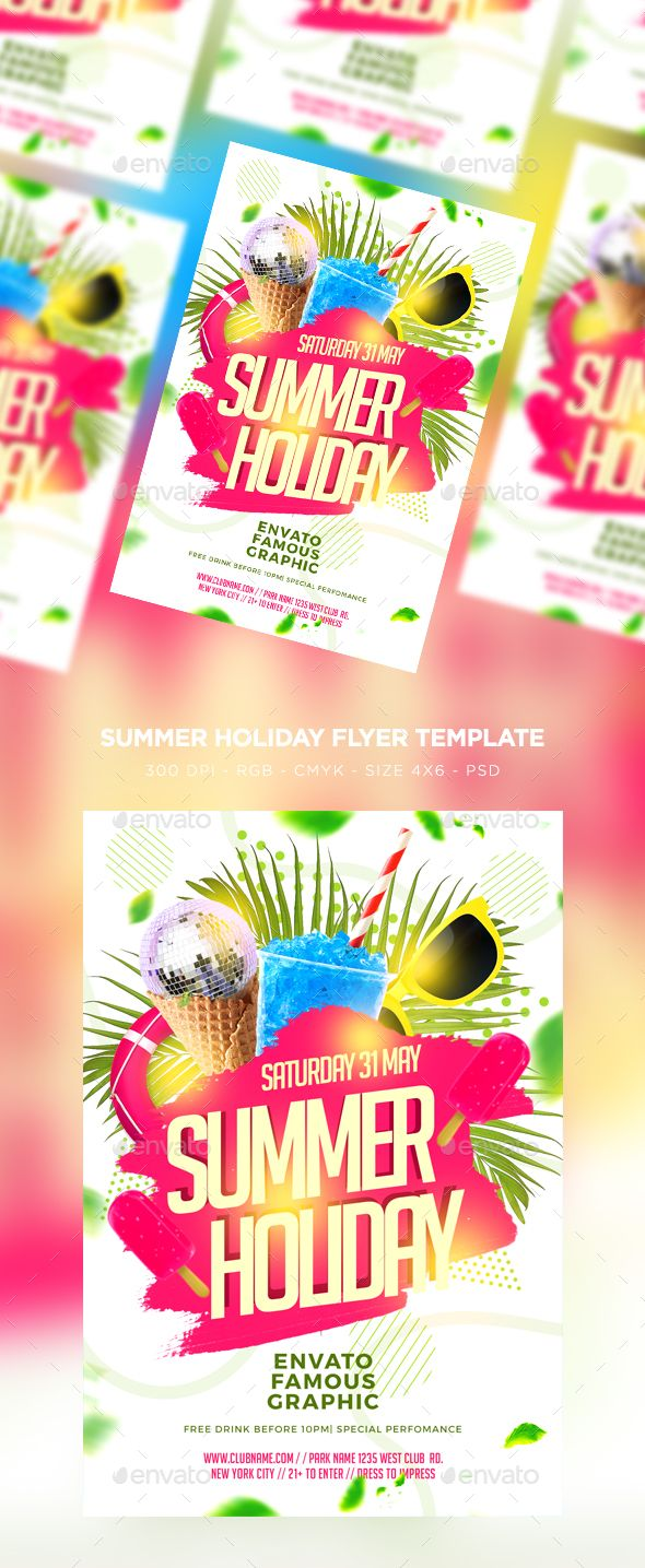 Summer Holiday Flyer Pinterest Flyer Template Party Flyer And