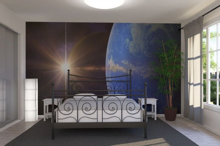 Bedroom Ideas with Space Wall Mural