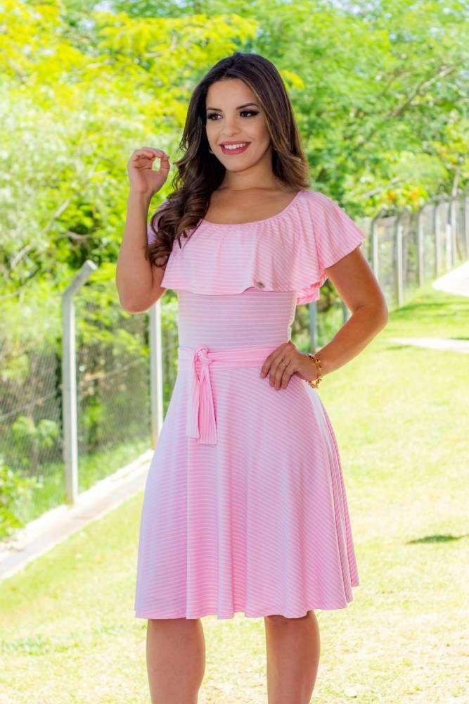 BK0608 - VESTIDO EVASE GOLA CANOA ROSA BEBE | vestidos | Pinterest ...