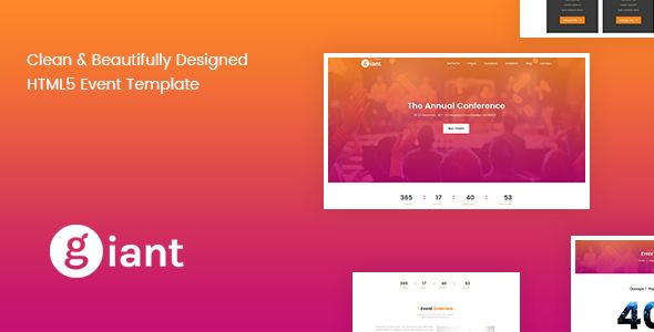 Giant Event - Conference & Event Management Template   Event ...