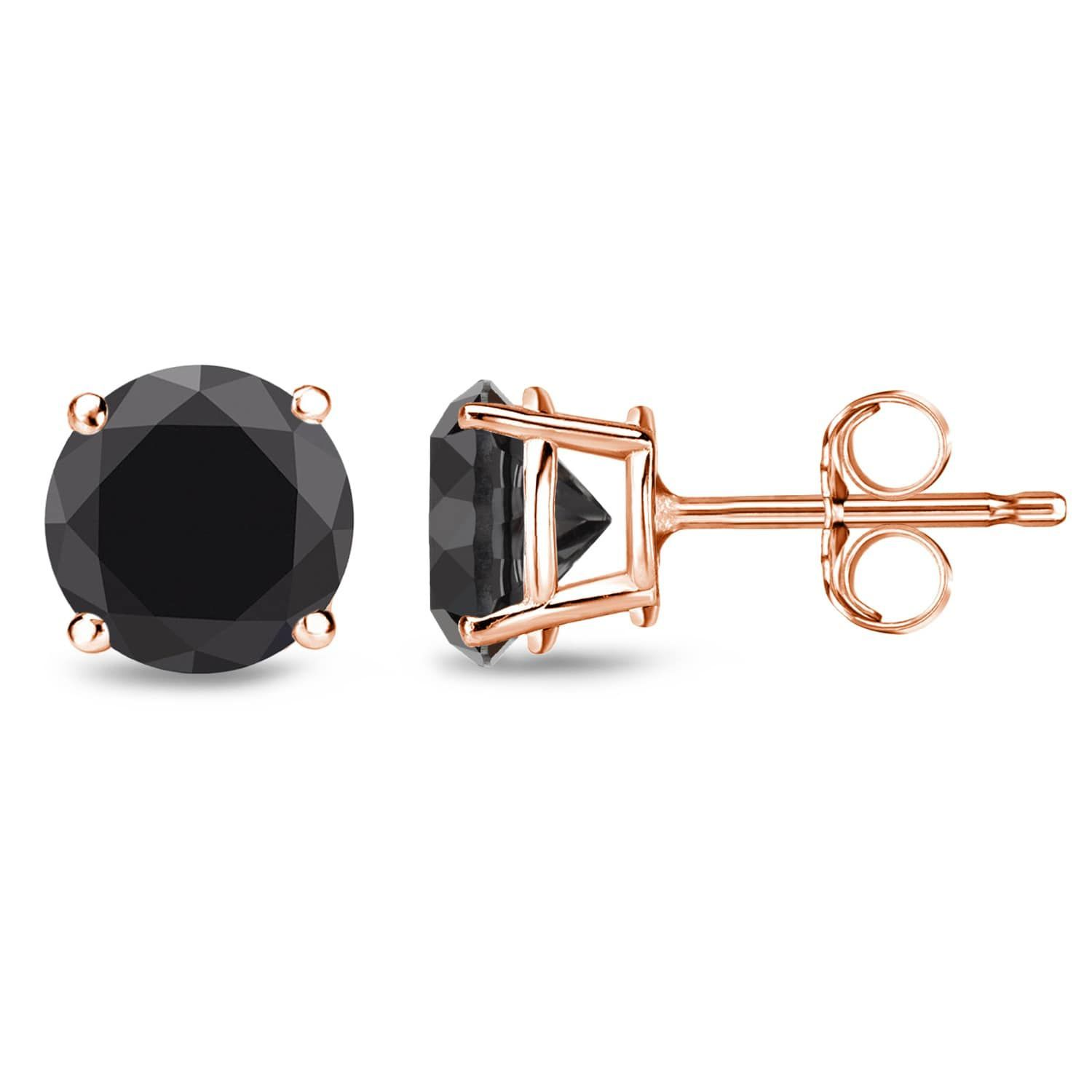 Auriya 14k Rose Gold 1 2 to 4ct Round Black Diamond Solitaire Stud