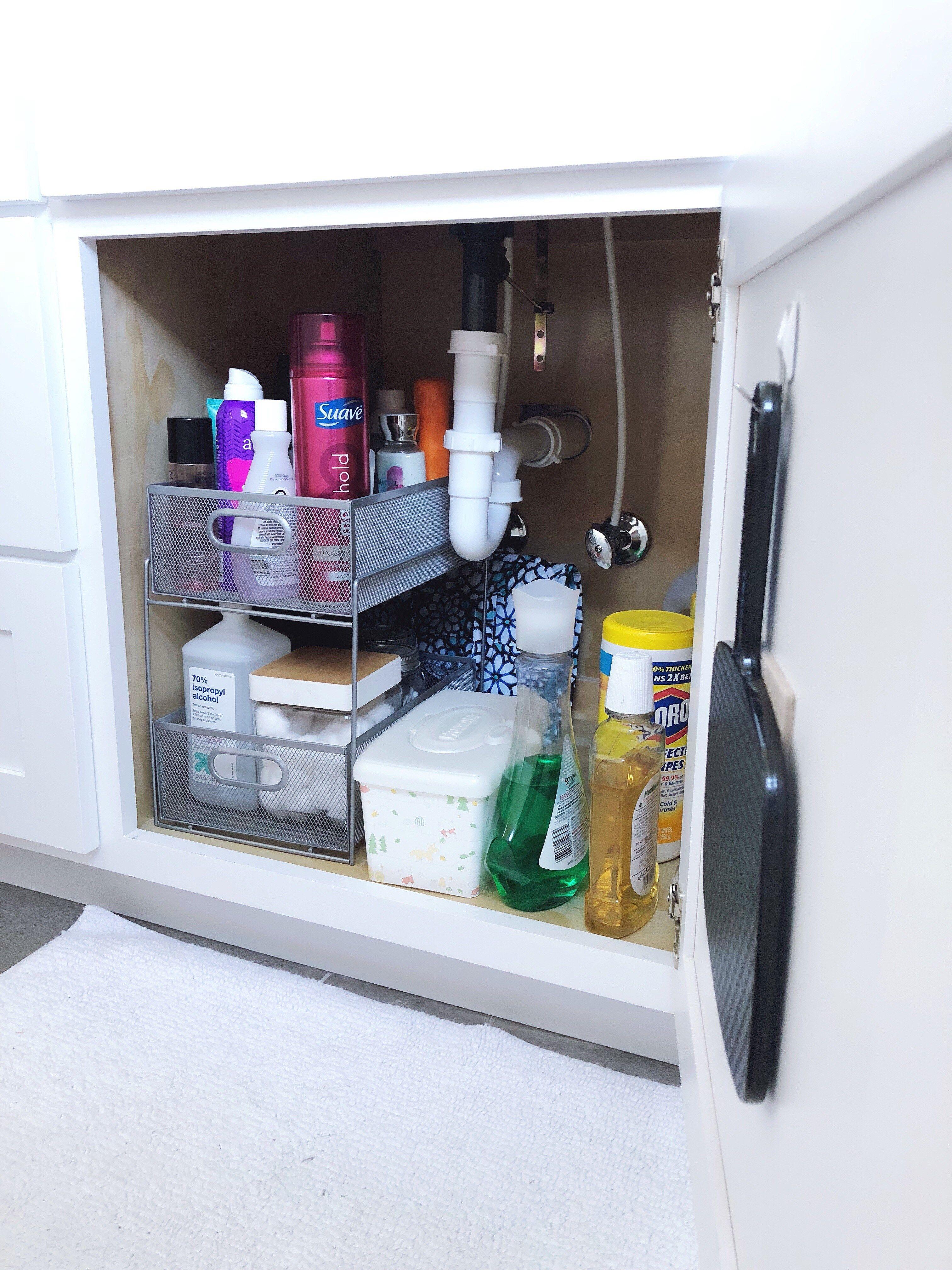 Organize A Bathroom Vanity On The Cheap Bathroom Cabinet